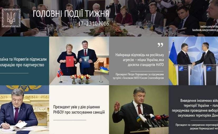 Головні події тижня від Адміністрації Президента України. 17-23 жовтня