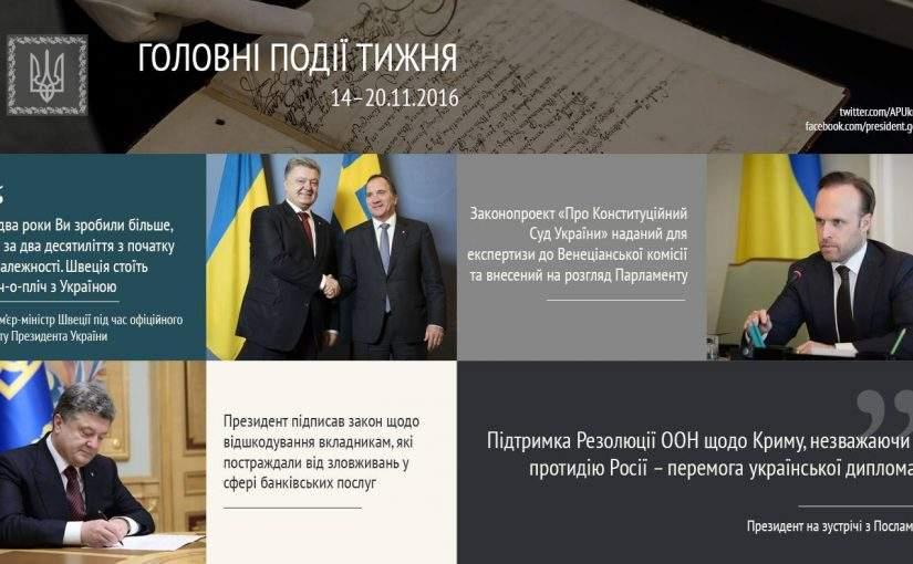 Головні події тижня від Адміністрації Президента України. 14-20 листопада