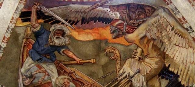 Фрагмент картины Аксели Галлен-Каллелы по мотивам Калевалы, Защита Сампо, фреска, Национальный музей Финляндии, 1928 г. Ничего не напоминает?