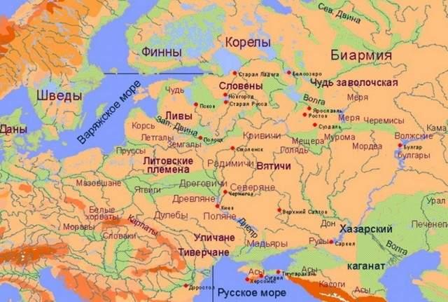 Ареалы проживания славянских и финно-угорских народов