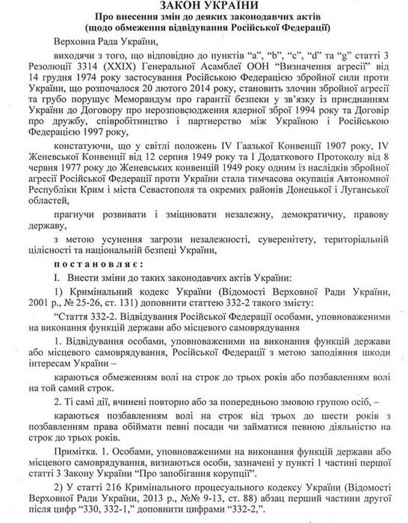 СБУ ініціює громадське обговорення законопроекту про обмеження візитів до РФ українським посадовцям (документ)