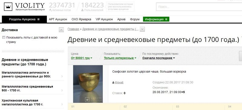 Мінкультури звертається до СБУ з проханням щодо недопущення нелегального обігу предметів археологічної спадщини