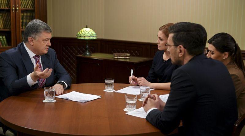 Петро Порошенко дав інтерв'ю українським телеканалам Україна, Inter, ICTV (фото, відео)