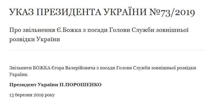 Порошенко звільнив голову Служби зовнішньої розвідки Божка