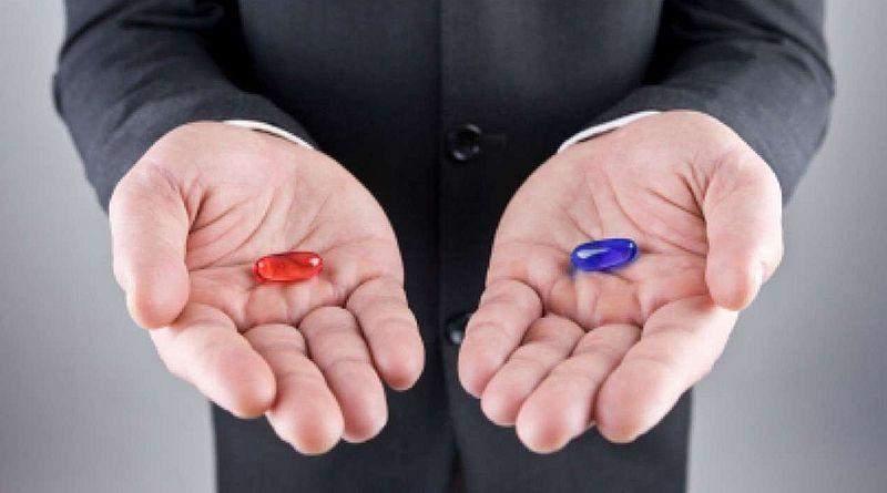 Є дві таблетки - червона і синя