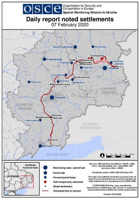 Вечірній брифінг пресцентру Об'єднаних сил 07.02.2020 (звіти ОБСЄ, мапа)